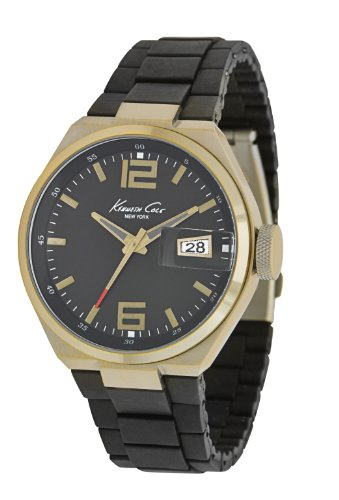 kenneth-cole-new-york-caballero-kc9048-classic-antique-brushed-gold-finish-rubber-link-reloj