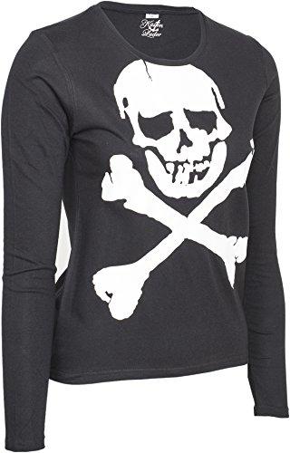 Killer Kirsche White SKULL X-Bones Totenkopf Langarm SHIRT Rockabilly  Schwarz mit weißem Motiv ...