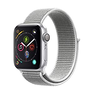 Apple Watch Series 4 (GPS) con caja de 40 mm de aluminio en plata y correa Loop deportiva en color nácar