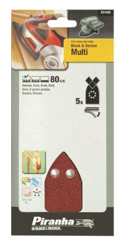 Piranha Multischleifpapier, Körnung 80 (grob gekörnt, mit Klett-Fix, 5 Stück, passend Black+Decker Multi) X31442 Multi Klett