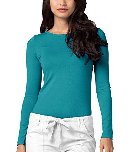 Kostüm Teal Damen - Adar Womens Comfort Long Sleeve T-Shirt Underscrub Tee - 2900 - Teal Green - S