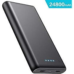 iPosible Batterie Externe 24800mAh Power Bank Haute Capacité Chargeur Portable 2 Ports USB Batterie de Secours Compatible avec Huawei Sony et Autres Smartphones et Tablettes(Noir)
