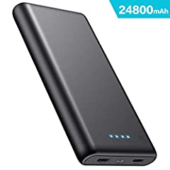 Idea Regalo - iPosible Power Bank 24800mAh, Caricabatterie Portatile 2 USB Porte, Batteria Esterna Carica Veloce Batteria Portatile per Cellulare,Tablet -Nero
