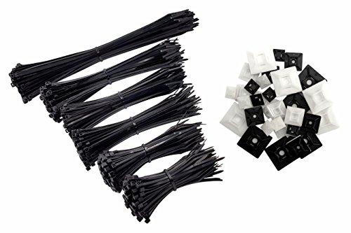 intervisio Kabelbinder Set 600 Stück, schwarz, 80 100 140 160 200 300mm + Klebesockel Klebepads Montagesockel Profi Mix 50 Stück, schwarz und weiss, 12mm 19mm 28mm