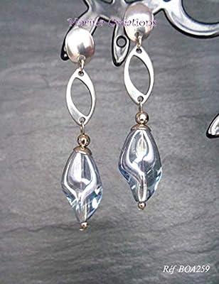 Boucles d'oreilles acier inoxydable, perles verre gris transparent torsadé, boucles chic, élégantes, soirée, mariage BOA262