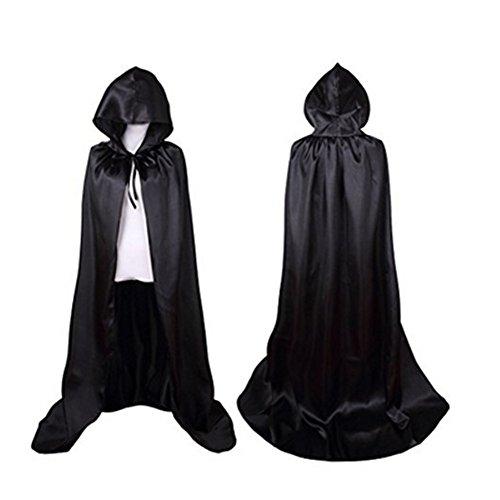 Kapuzen Satin Kostüme (Labellevie Halloween Umhang Satin Karneval Fasching Kostüm Cape mit)