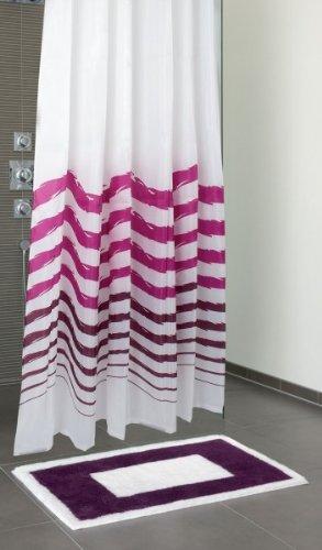 Sanwood by Nicol 8937516 Susa Duschvorhang, Material 100% Polyester, 200 x 180 cm, weiß mit lila Streifen
