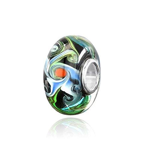 MATERIA 'Hurricane' 925 Silber Muranoglas Beads Anhänger schwarz blau für Beads Armband/Kette #1016 -