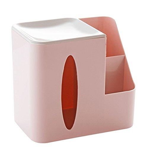 Pumping paper storage box YZRCRKCreative Wohnzimmer Desktop Tissue Box multifunktions Fernbedienung Aufbewahrungsbox Kaffeetisch Kunststoff Tablett Haushalt Rollenpapier Box (Farbe : Pink)
