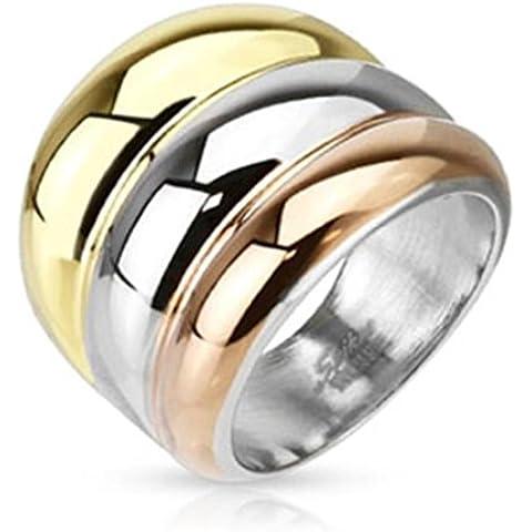 Paula & Fritz anillo de acero inoxidable 19mm de ancho plata chapado en oro tres curvas disponibles anillo tamaños