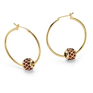 Birthstone Bead Hoop Earrings in Yellow Gold Tone- January- Simulated Garnet