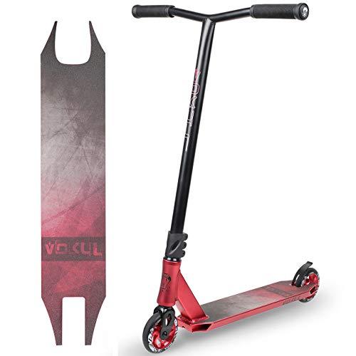 VOKUL BZIT K1 Pro Stunt Scooter - Freestyle Tretroller mit 100mm PU Wheels, Erwachsene & Kinder (Rot)