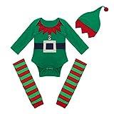 dPois Baby Jungen Weihnachten Outfits Kostüm Elf Elfen Kostüm Kleinkind Langarm Strampler mit Socken und Mütze Weihnachtsmann Cosplay Party Gr. 62-86 Grün 80-86/12-18 Monate