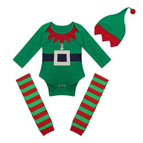 dPois Baby Jungen Weihnachten Outfits Kostüm Elf Elfen Kostüm Kleinkind Langarm Strampler mit Socken und Mütze Weihnachtsmann Cosplay Party Gr. 62-86 Grün 62-68/3-6 - Elf Kostüm Für Weihnachten