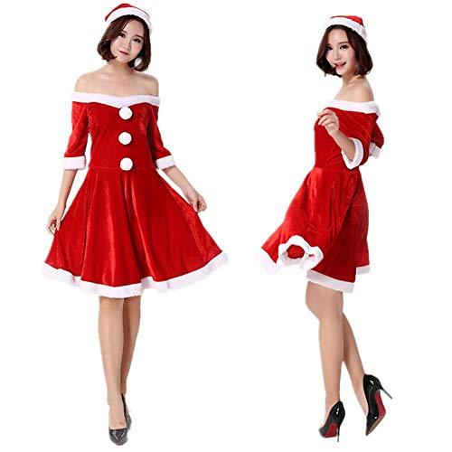 KAIDILA Natale Costume Cosplay Natale Regalo Adulta Donna Sexy Spalla Natale Vestito Vestito da scolaretta Cappello Natale