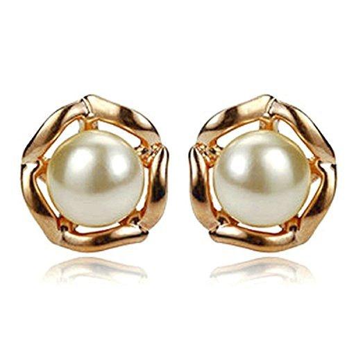 Yoursfs amore Audrey Hepburn singolo round perla elegante della vite prigioniera placcato oro 18k per il vestito da festa di nozze