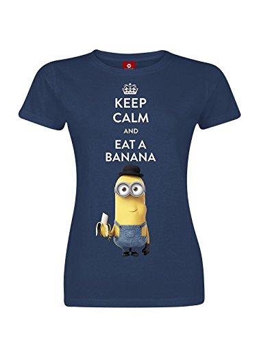 Minions Keep Calm And Eat A Banana Girl-Shirt navy XXL (T-shirt Frauen Bananas)