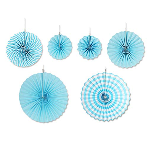 aspire Party Hängepapier-Fächer-Set, rund, Papiergirlande, Dekoration, Zubehör für Veranstaltungen, blau, Einheitsgröße