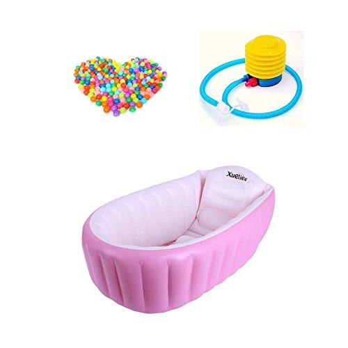 Gonfiabile vasca per il bagnetto, xueliee portable mini air piscina bambino infantili spessa pieghevole doccia lavabo con morbido cuscino centrale sedile (per 0–3anni)