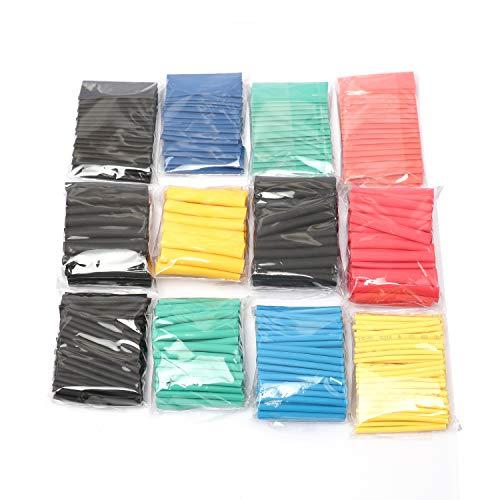Preisvergleich Produktbild KEZIO Doppelwandkleber Schrumpfschlauch Kit,  (530 STÜCKE) Hochtemperaturbeständig,  Umweltfreundlich Flammhemmend Schrumpfschlauch (Farbe) Hardware-Reparaturwerkzeug