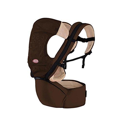 Babytrage Das Gesäß der Sitzträger Rutschfest Ergonomisches Design 4 Arten von Möglichkeiten zu tragen herausnehmbare Sitze tragbar Multifunktions Babybauchtragen brown (Pack-brown-t-shirts)