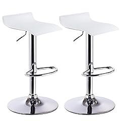 Idea Regalo - WOLTU BH11ws Sgabelli da Bar Sedia Club Cucina Alta con Poggiapiedi Similpelle Cromato Regolabile Girevole Moderno Bianco Coppia 2 Pezzi