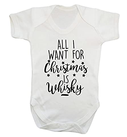 All I want for christmas is whisky baby vest bodysuit babygrow