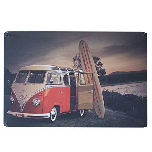 L'Esprit des Anges Dekorative Metallwandplatte Auto Combi Volkswagen Rot und Weiß Surfbrett 20 x 30 cm