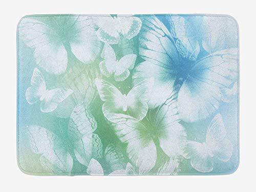 Butterfly Garden Seat (CHKWYN Light Blue Bath Mat, Dreamlike Butterflies in Spring Garden Blurry Fantasy Wings, Plush Bathroom Decor Mat with Non Slip Backing, 23.6 W X 15.7 W Inches, Pale Blue Pale Green White)
