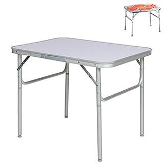 Alu Campingtisch Klapptisch 75 x 55cm nur 3.2 Kg. Gartentisch Camping Tisch Reisetisch Abstelltisch Silber/Weiß Smartweb