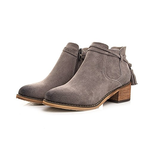 Leather Tassels Short Boots Women'S Round Of Martin Boots gray
