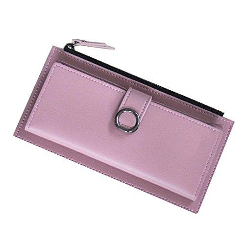 Jia Qing Dame Wallet Two Fold Wallet Soft PU Große Kapazität Cross Section Hand Tasche,Pink-OneSize (Two Wallet Damen Fold)