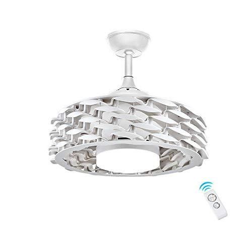 Ventilador de Techo con Luz Lámpara 55cm Sin Hojas Invisible Ventilador de Techo Realce Mudo LED Tricolor...
