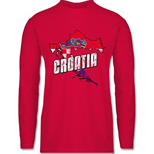 EM 2016 - Frankreich - Croatia Umriss Vintage - Longsleeve / langärmeliges T-Shirt für Herren Rot
