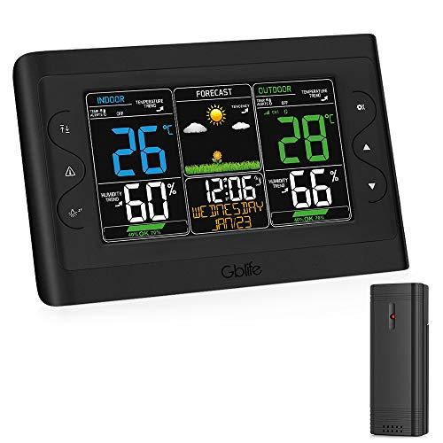 GBlife Digitale Wetterstation, EWT8280A-Vorhersage Station mit Außensensor, Temperatur/Feuchtigkeit/Wettervorhersage/Wecker Farbdisplay(Schwarz)