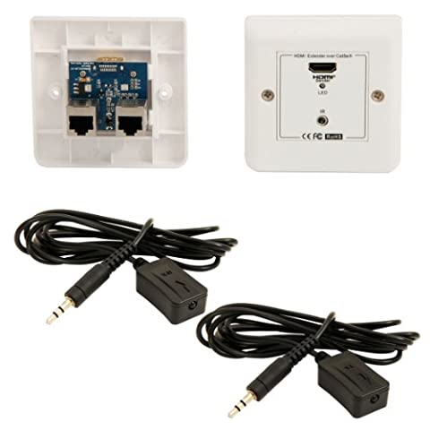 HDMI & IR Over Cat5e/Cat6 Cable Extender Wall Face Plate Balun - 30m Full HD & 3D - CableFinder