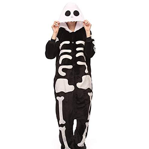 SHANGXIAN Erwachsene Strampler Skelett Pyjama Für Frauen/Männer Cosplay Halloween Kostüme,S