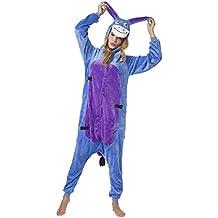 Katara 1744 - Kigurumi Pijamas Disfraz de Animal - Traje de Noche con Capucha - Adultos Unisexo - Burro, S