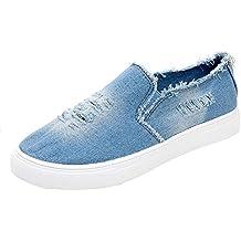 Zapatillas Running para Mujer Estudiante Casual Zapatos Fondo Plano Cabeza Redonda Mezclilla Zapatillas de Deporte Comodo