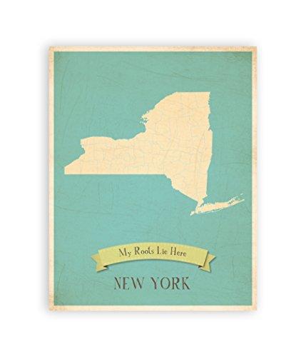Meine Wurzeln New York Personalisierte Wall Karte, 11x 14, Kid New York Karte Kunst, Kinder New York Vintage-Staat, Karte, NY Wand Kunstdruck, Kinderzimmer Decor, Wanddekoration für Kinderzimmer