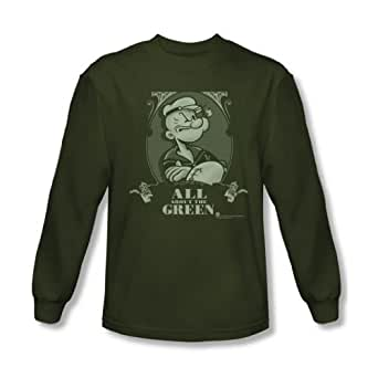 Popeye - Mens All About The Green Long Sleeve Shirt In Military Green, XX-Large, Military Green