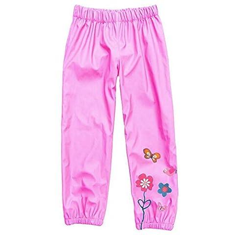 Highdas Enfants Windproof & Imperméable Pantalon Rain-suit Trouse Rose / 120cm