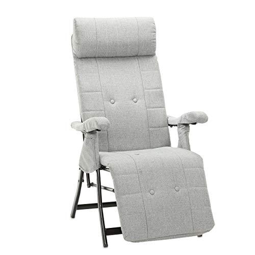 maxVitalis Relax-Liegestuhl klappbar u. druckentlastend, Gartenstuhl, 8-Fach verstellbare Rücken- u. Beinstütze, Indoor u. Outdoor, inkl. Kopfstütze, Viskose Polsterung, bis 120 kg (Stoff, Grau)