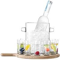 LSA Wodka-Gläser &L 38,5 cm, Paddelform aus Eichenholz, für 12 Schnapsgläser und Eiskübel mit Holz, Paddelform