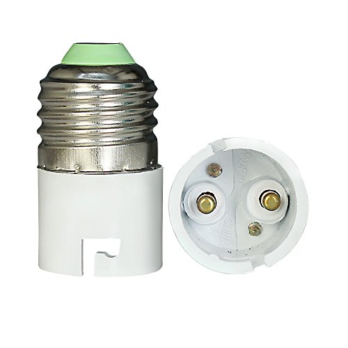 Sanleen Enterprises High Quality Plastic Metal White E27 to B22 Screw Base Socket Lamp Holder Light Bulb Adapter ,2 Pieces