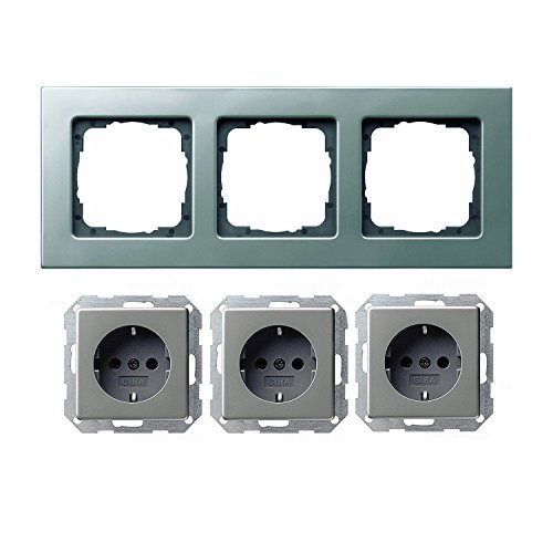 GIRA Komplett Set mit 3-fach Rahmen - 3 x SCHUKO Steckdose - Farbe: Edelstahl - E22