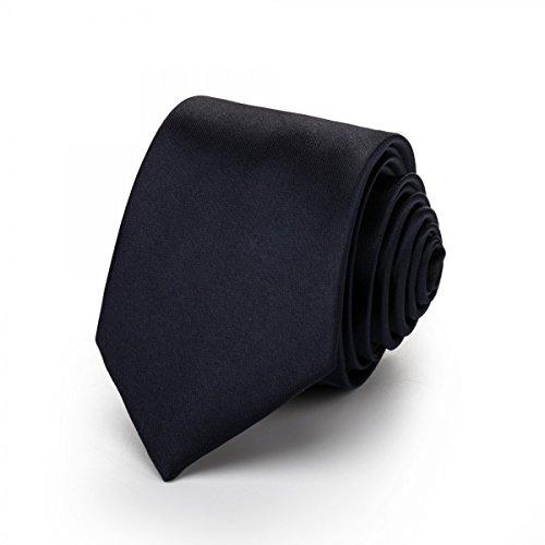 Rusty Bob - Krawatte schmal/dünn 3cm-5cm für Herren [auch für Kinder/Jungen] (uni,nicht gestreift) aus Polyester glänzt wie Seide - Marine