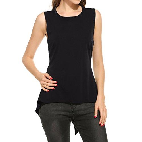 Honghu Femme Slim Fit Sans Manches Col Rond Débardeurs Shirt Noir