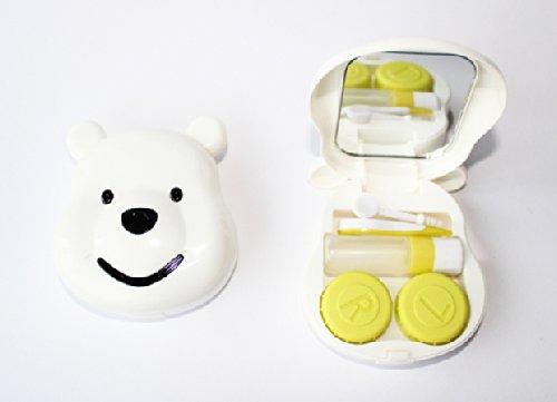 Kontaktlinsenbehälter Spiegel (Kontaktlinsenbehälter Aufbewahrungsbehälter Etui Set Spiegel süße Winniepooh Weiß)
