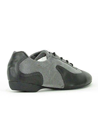 Só Dança DK30 Dance Sneaker Scarpe da Ballo Sintetico/Mesh Hip Lindy Swing Trainer Scarpe Professionista Shuffle Dance suola intera PU Black/Silver